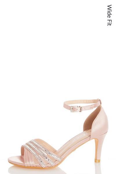 Wide Fit Pink Diamante Low Heel Sandals